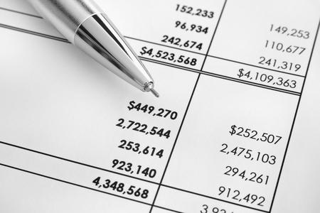 statements: Financial statements. Ballpoint pen on financial statements. Black and white image. Close up.