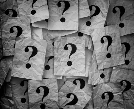 too many: Too Many Questions. Pile of paper notes with questions. Black and white. Stock Photo
