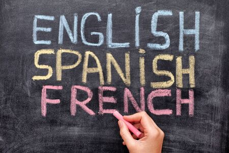 pronunciation: Choose your language. Hand drawing English, Spanish, French on blackboard. Close up. Stock Photo
