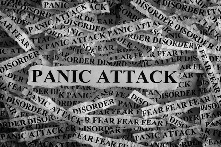 Panic Attack. Torn pieces of paper with the word Panic Attack. Concept Image. Black and White. Closeup.