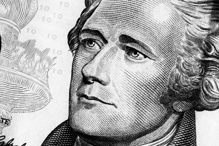 hamilton: Portrait of Alexander Hamilton on the Ten dollars bill. Black and white. Close up.