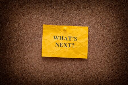 what's ahead: Yellow crumpled paper note with question What's next? on a cork board. Close up.