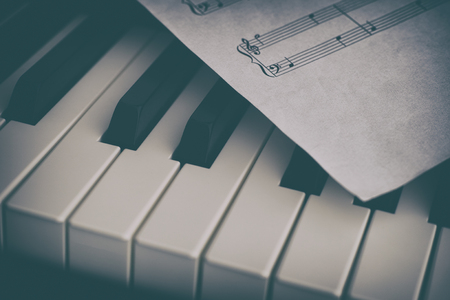 musical score: Piano and sheet music paper. Close up.