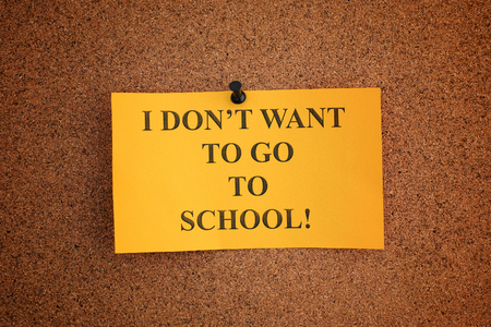 I do not want to go to school. Close up. Archivio Fotografico