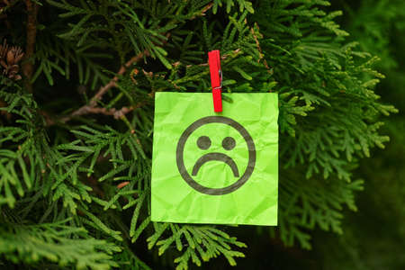 Green paper note with a sad face hanging on a tree. Close up. Concept image.