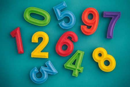 Colorful number set made out of polymer clay. Close up. Foto de archivo