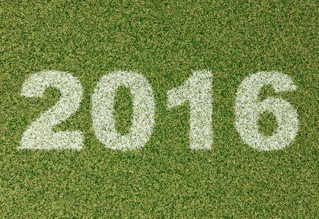 grass field: realistic textured grass football - soccer field. 2016 - written with white grass on the green football field Stock Photo