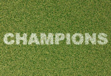 grass field: realistic textured grass football - soccer field. CHAMPIONs - written with white grass on the green football field