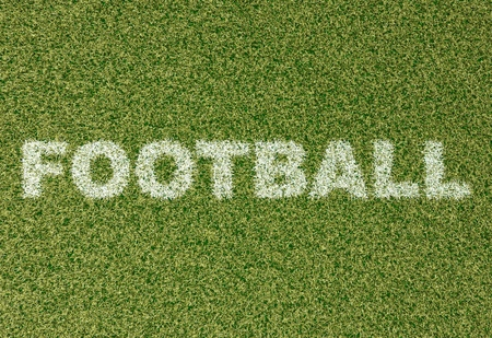 grass field: realistic textured grass football - soccer field. FOOTBALL - written with white grass on the green football field Stock Photo