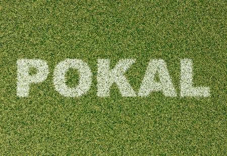 grass field: realistic textured grass football - soccer field. POKAL - written with white grass on the green football field