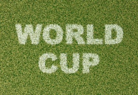 soccer world cup: realistic textured grass football - soccer field. WORLD CUP - written with white grass on the green football field Stock Photo