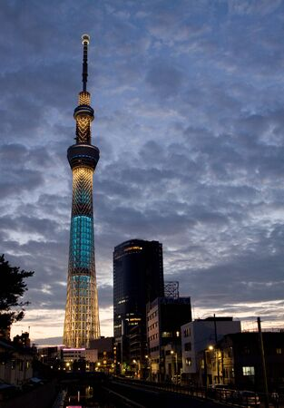 skytree night view from jukken bridge