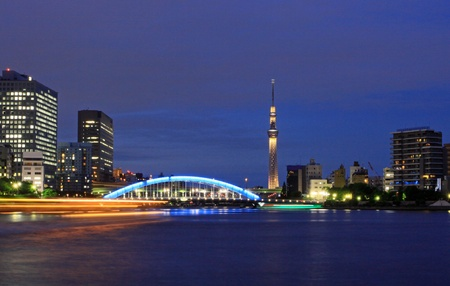 Night view of Tokyo Sky Tree and Eidai Bridge Stock Photo - 14906554