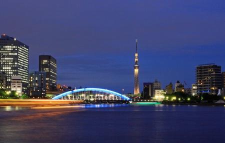 houseboat: Night view of Tokyo Sky Tree and Eidai Bridge