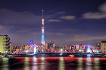 Night view of Tokyo Sky Tree and Kiyosu Bridge