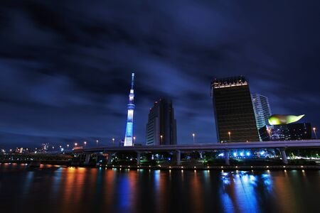 Night view of Tokyo Sky Tree and  Sumida River photo