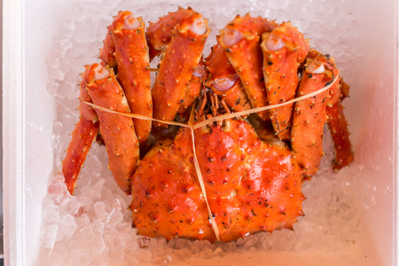 sapporo: Red king crabs packed on ice in the market in sapporo Stock Photo