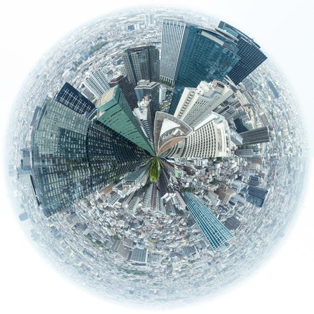360 degree view Urban landscape of Shinjuku financial district in Tokyo with skyscrapers at daytime Japan. Banco de Imagens