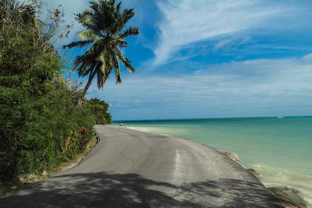 creole: coastal road on Praslin island - Seychelles