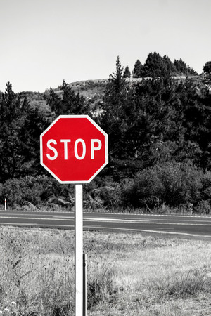 Stop road sign in New Zealand