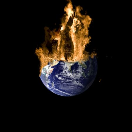 Earth burning on a black background. The Earth map is public domain from NASA. Its the  photo