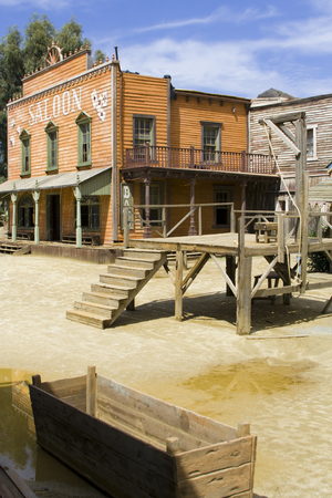 saloon: Western scenery with saloon. Vertical shot. Stock Photo
