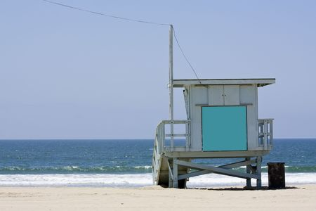 baywatch: Lifeguard hut on the Malibu beach. Blank panel on the front to write anything you want.