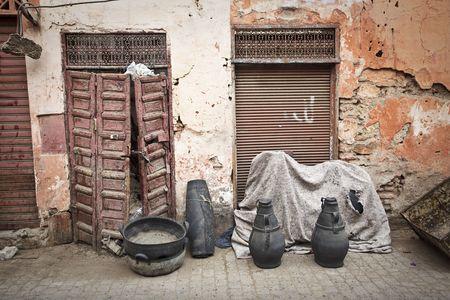 Street in Marakech, Morocco. Horizontal shot.