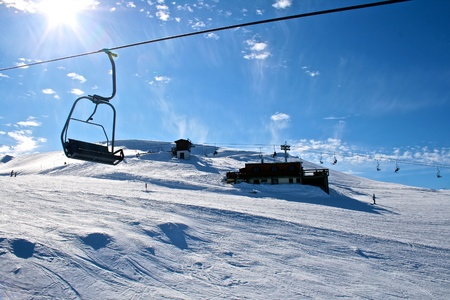 chairlift: WINTER LANDSCAPE IN CHAIRLIFT  Editorial