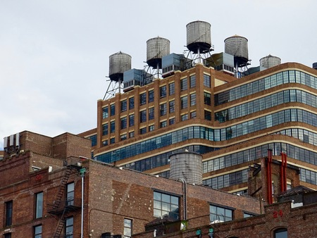 water tanks on the roofs of New York Editorial