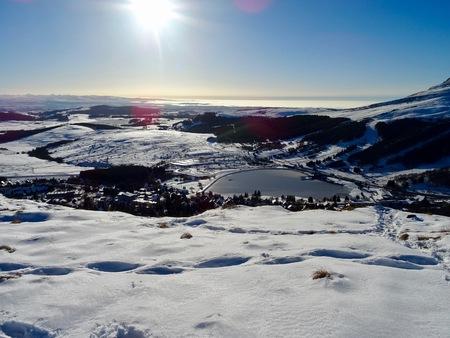 Super Besse ski resort in the snow in Auvergne Stock Photo