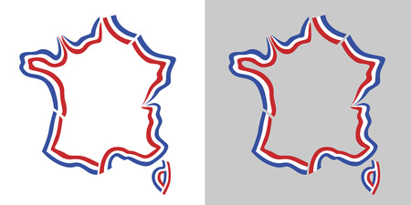 Frankreich Übersichtskarte, französisch Flagge Farben