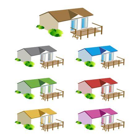 Casa móvil de plano del camping Ilustración de vector