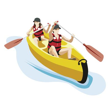 canoë-kayak avec deux personnes Vecteurs