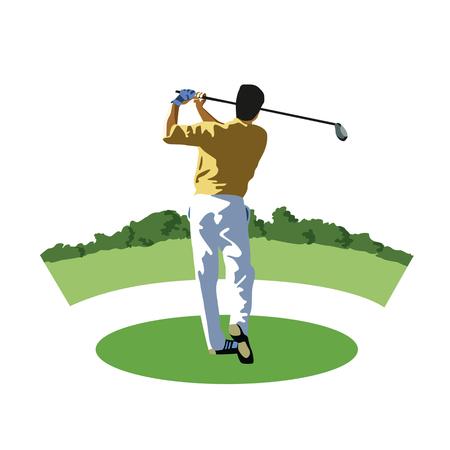 Golf speler in actie