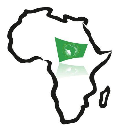 Afrika-kaart, schetst, met de Afrikaanse Unie vlag