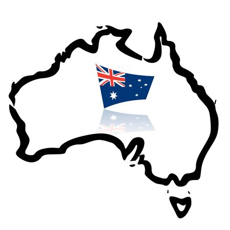 state boundary: Australia map, outlines, with flag Illustration