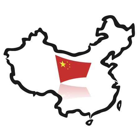 china map: China map, outlines, with flag Illustration