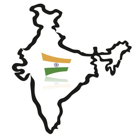 India map, outlines, with flag 向量圖像