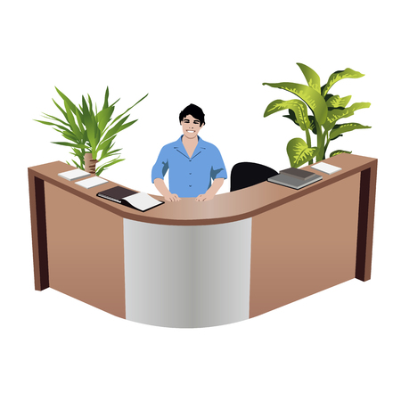 receptionist: Receptionist at reception desk