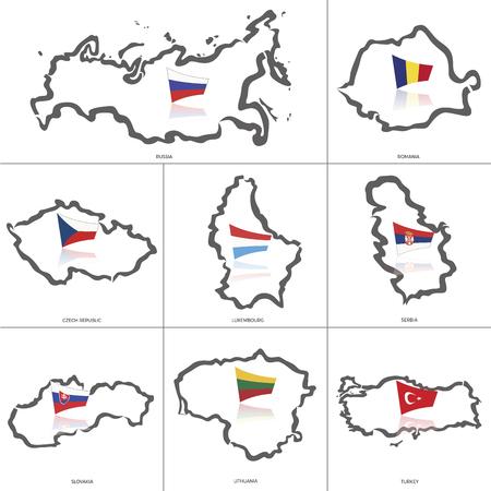 Overzicht van Rusland, Roemenië, Griekenland, Tsjechië, Zwitsers, Servië, Slowakije, Litouwen, Turkije Stock Illustratie