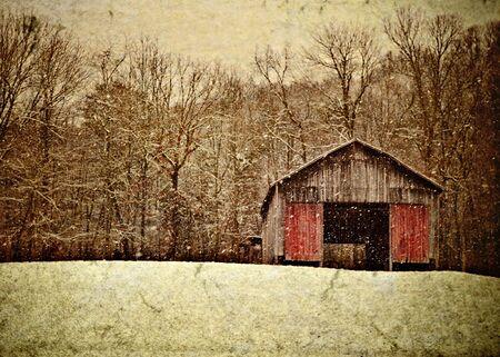 冬のアパラチア山脈のタバコの納屋のイラスト 写真素材