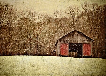 red barn: Illustration of an appalachian tobacco barn in the winter