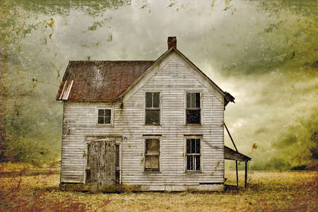 abandoned house: Illustration of weathered abandoned building in remote rural area.
