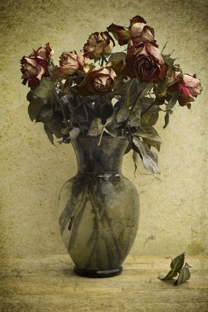 Photo based illustration of a bouquet of dying roses. illustration