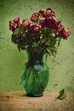Photo based illustration of bouquet of dying roses.