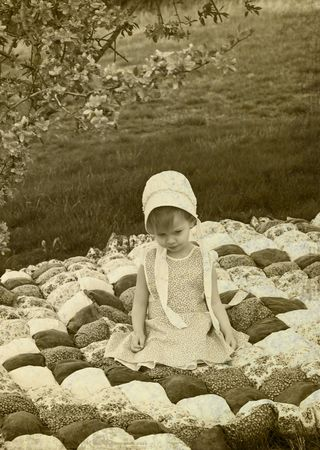 amish: Illustration of an Amish child Stock Photo