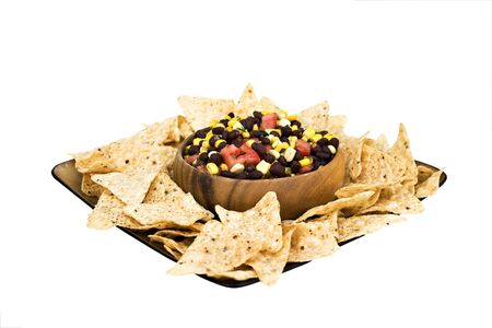 flavorful: black bean salad with corn chips