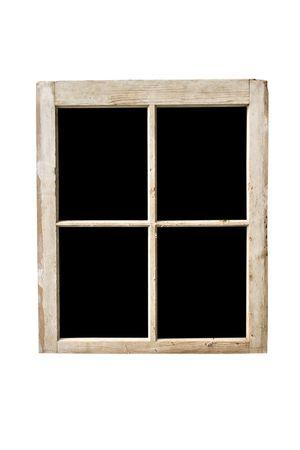 marco blanco y negro: Antiguo marco de la ventana residencial aislado en blanco con cristales tachado.