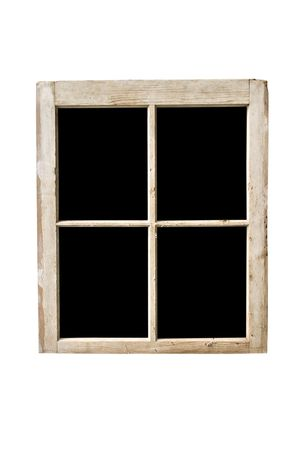 Old residential window frame isolated on white with panes blacked out.